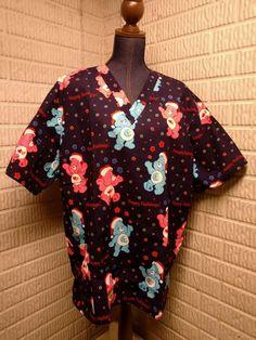 Care Bears Happy Holidays Christmas Uniform Scrub Tops Womens Size XL NWOT #CareBears