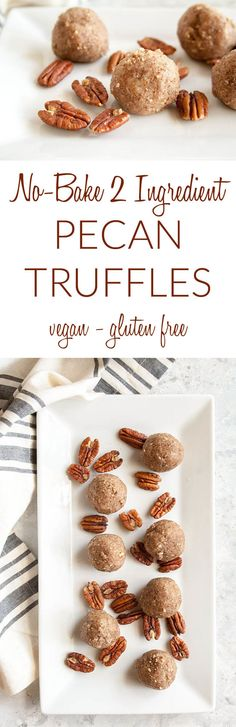 Pecan Truffles (vegan, gluten free)- These easy no-bake 2 ingredient truffles are the perfect gift for the holiday season. These sweet treats are addicting! No Bake Truffles, Vegan Truffles, Vegan Desserts, Easy Desserts, Snack Recipes, Dessert Recipes, Vegan Recipes, Vegan Christmas, Christmas Recipes