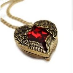Vintage jewelry red gemstone heart love pendant long chain necklace Angel Wing