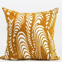G Home Collection Luxury Warp Chevron Embroidered Throw Pillow Color: Yellow