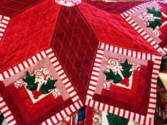 Log Cabin Star Quilted Christmas Tree Skirt By HLMQuiltedTreasures