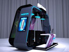 Nokia Asha booth by ahmad arty, via Behance Kiosk Design, Id Design, Display Design, Store Design, Exhibition Stall, Exhibition Booth Design, Exhibition Display, Exhibit Design, Single Floor House Design