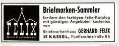 Original-Werbung/ Anzeige 1964 - BRIEFMARKEN - KATALOG GERHARD FELIX - KASSEL - ca. 60 x 25 mm
