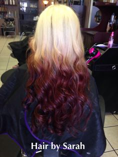 Hair by Sarah Peterson Wood at The Legacy Salon. Reverse ombre' blonde to red violet.