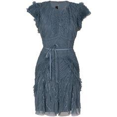 ELIE SAAB Tulle Ruffle Dress ($3,260) ❤ liked on Polyvore featuring dresses, vestidos, elie saab, short dresses, blue, women, blue tulle dress, fitted dresses, tulle cocktail dress and tulle dress