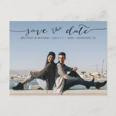 Modern Photo Hand Lettered Save the Date Announcement Postcard - Pick the best picture from your engagement shoot or your favorite picture of the two of you for this perfect save the date. The words save the date are handwritten to give a personal feel to the postcard.