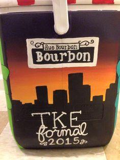 cute painted fraternity formal cooler- tau kappe epison TKE new orleans bourbon