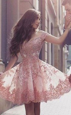A-Line Homecoming Dress,Lace Homecoming Dress,Off-the-Shoulder Short Sleeves Homecoming Dress, Blush Pink Lace Prom Dress with Appliques