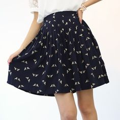 Korea womens shopping mall [styleberry]  #koreafashionshop #fashion_insta  #instaclothes #instashop #Fashion_women #goodquality #goodfabric #korea #dailylook #dailyfashion #skirt #flared skirt #koreaskirt  Bird printing fine lines, flared skirt   / Size : S,M,L / Price : 42.50 USD