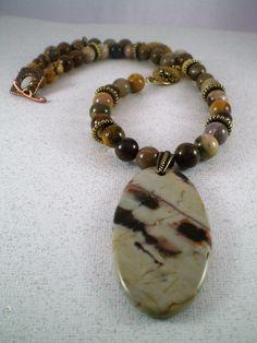 Silicified Wood Jasper Gemstone Necklace; Boho Style, High Fashion, Gemstone by JazzyDazzleJewelry on Etsy