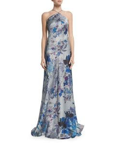 Sleeveless Floral-Print Halter A-line Gown  by Theia at Neiman Marcus.