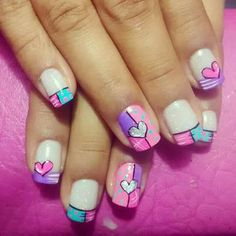 Romantic, cute and lovely valentine's day nails. Make your nails special for this special day. Funky Nail Art, Funky Nails, Cute Nail Art, Nail Art Diy, Love Nails, Diy Nails, Pretty Nails, Heart Nail Designs, Nail Art Designs