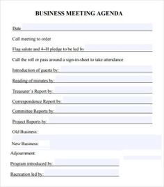 Meeting Agendas Templates  Meeting Agenda Template Download Page