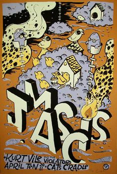 J Mascis with Kurt Vile concert poster by Chris Williams
