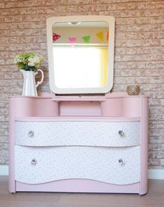 Shabby Chic Bedroom Furniture Dressing Table Vintage in Annie Sloan Pink with Floral Paper and Large Mirror for Girls Bedroom UK