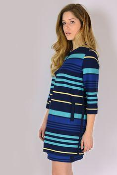 Vestito Collezione CrossChic #SS16 Designer Hanita #Stripes #Righe #Blu #Blue #Elegante #Party #Chic