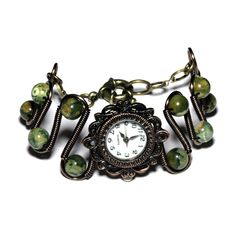 Steampunk Victorian Jewelry - Copper -  Working watch bracelet -Green Rainforest Jasper. $65.00, via Etsy.