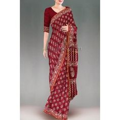 'Dark maroon color chanderi sico saree with matching blouse.This sico sari has got all over cream,red floral naphthol block prints along with small zari border on either side.And it has naphthol block printed elegant pallu.It is perfect for corporate and casual wear'