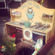 Our new Mud Kitchen! Kids Outdoor Play, Outdoor Play Spaces, Outdoor Playground, Outdoor Learning, Outdoor Fun, Outdoor School, Outdoor Classroom, Preschool Garden, Mud Kitchen