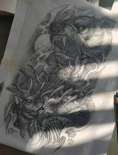 Эскиз татуировки со свирепым медведем