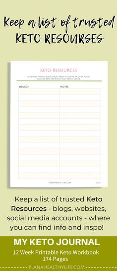 Printable 12 Week Keto Diet Journal with Food Log and Meal Planner - Keto for beginners Cyclical Ketogenic Diet, Ketogenic Diet Meal Plan, Ketogenic Diet For Beginners, Diets For Beginners, Keto Diet Plan, Keto Meal, Ketogenic Girl, Ketogenic Lifestyle, Keto Diet Guide
