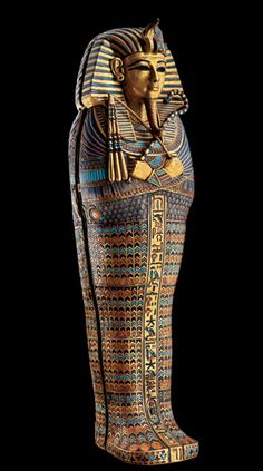 This 39-centimetre canopic coffinette from Tut's tomb is made of gold, carnelian and coloured glass.