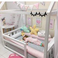 Hausbett - home decorating ideas - Babyzimmer Girls Bedroom, Little Girl Bedrooms, Baby Bedroom, Nursery Bedding, Baby Room Decor, Nursery Room, Kid Bedrooms, Girl Toddler Bedroom, Kids Bedroom Ideas For Girls Toddler