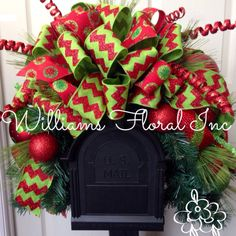 Christmas Mailbox Swag, MailBox, Decor, Red and Green by WilliamsFloral on Etsy