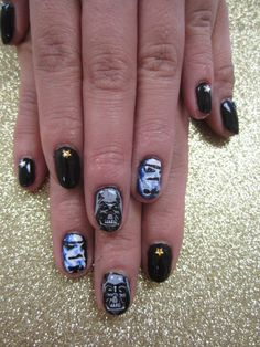 Star Wars Nails - Darth Vader and Stormtrooper Set.    Nail Art Manicure.