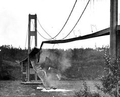 Nov. 7, 1940. The Tacoma Narrows Bridge collapses in Washington state during a windstorm sending the 2800-foot span into the Puget Sound.