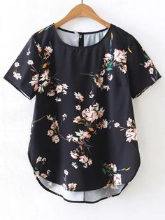 SheIn offers Short Sleeve Floral High Low Blouse & more to fit your fashionable needs. T-shirts Blouses & Shirts Outerwear Knitwear Intimates Look Fashion, Fashion Outfits, Womens Fashion, Fashion Black, Street Fashion, Fashion Ideas, Top Mode, Casual Outfits, Cute Outfits