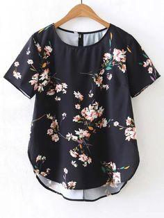 Blusa asimétrica de mangas cortas con estampado de flor Blusas Femininas df3508482bedb