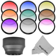 58MM Complete Graduated Lens Color Filter Kit for CANON Rebel (T5i T4I T3i T3 T2 T2i T1i XT XTi XSi XS SL1), CANON EOS (1100D 600D 550D 500D 450D 400D 350D 300D 100D 60D 7D) - Includes: Graduated Red, Orange, Blue, Yellow, Green, Coffee, Purple, Gray (Neutral Density) and Pink Filters + Rubber Lens Hood + MagicFiber Microfiber Lens Cleaning Cloth: Amazon.ca: Camera & Photo