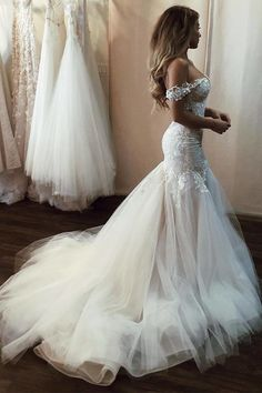 Off the Shoulder Mermaid Wedding Dress with Lace, Long Tulle Bridal Dress with T. Off the Shoulder Mermaid Wedding Dress with Lace, Long Tulle Bridal Dress with Train Turkish Wedding Dress, Boho Wedding Dress With Sleeves, Off Shoulder Wedding Dress, Long Wedding Dresses, Perfect Wedding Dress, Tulle Wedding, Cheap Wedding Dress, Bridal Dresses, Dress Lace