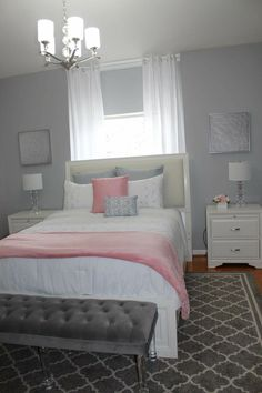 Pink And Gray Bedroom Grey Room