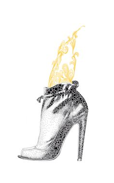 Amazing shoe illustration by Rikke Jorgensen
