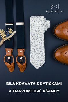 Bílá kravata s kytičkami a tmavomodré kšandy, šle pro ženicha. Svatební kravata pro stylové muže. Belt, Accessories, Belts, Waist Belts, Ornament
