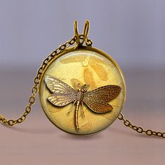 Jewelry  Necklace  Bronze Dragonfly on Golden by MaDGreenCreations, $7.95