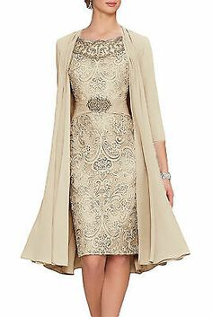 Women's Tea Length Mother of The Bride Dresses Two Pieces with Jacket - fashion - abendkleid Mob Dresses, Tea Length Dresses, Plus Size Dresses, Bridal Dresses, Mother Of The Bride Dresses Long, Mothers Dresses, Mother Of The Bride Fashion, Vestidos Chiffon, Look Street Style