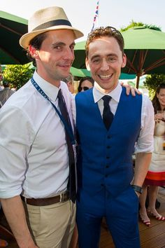 Tom Hiddleston and Matthew Goode at Wimbledon on July 7, 2013 (x)