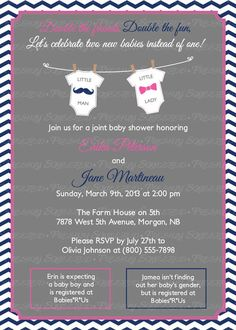 Double baby shower invitation gender neutral baby shower joint baby shower invitation mustache and by freshlysqueezedcards freshlysqueezedcardssy stopboris Image collections