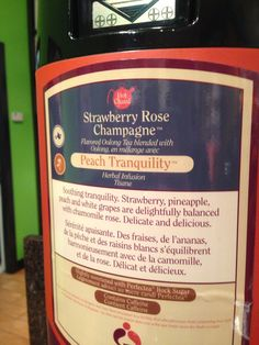What to order at TEAVANA: Strawberry Rose Champagne tea and Peach Tranquility tea combination, served hot.