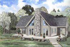 Log Exterior - Front Elevation Plan #17-469 - Houseplans.com