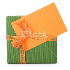 Gift with greeting card Royalty Free Stock Photo