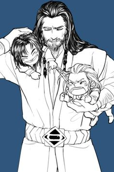 """Uncle!  Kili's pulling my hair!"""
