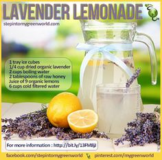 ☛ A deliciously healthy lavender lemonade for YOU. FOR ALL THE DETAILED RECIPE: http://www.stepintomygreenworld.com/healthyliving/lavender-lemonade/ ✒ Share | Like | Re-pin | Comment