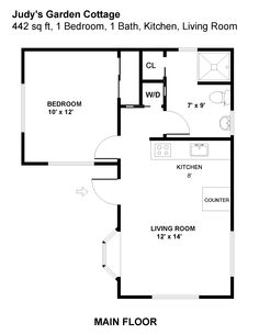 Floor plan.  Tiny house.  Small house.  Cottage.