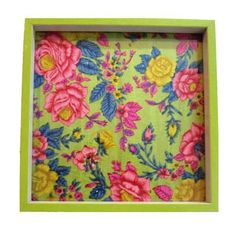 Wooden Serving Tray, Lime Green Floral Print - FOLKBRIDGE.COM   Buy Gifts. Indian Handicrafts. Home Decorations.