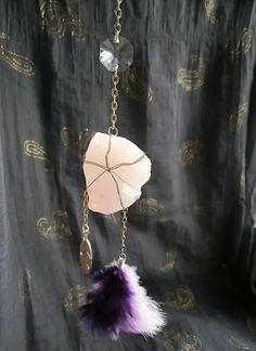 Hanging crystal with feathers