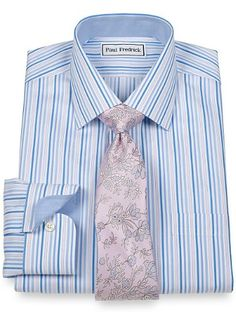 Non Iron 2-Ply 100% Cotton Shadow Stripe Spread Collar Dress Shirt from Paul Fredrick